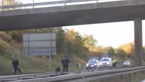 Motorvej lukket: Forrude splintrede under bro